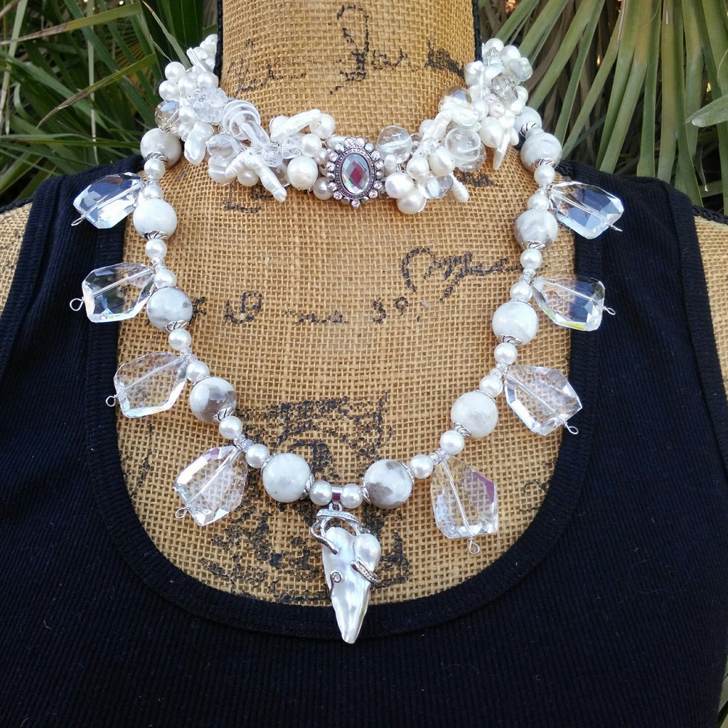Freshwater Pearl Choker, Crystal Multi-Strand Statement Necklace, Chunky Statement Necklace