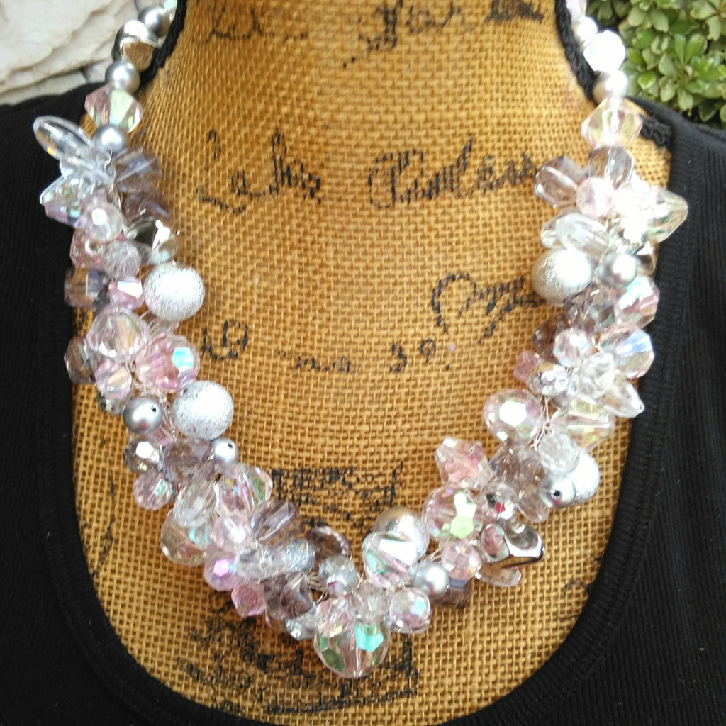 Crystal Statement Necklace, Chunky Statement Necklace, Silver Bib, Crystal Collar, Designer Inspired