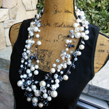 Black and White Pearl Statement Choker, Pearl Statement Necklace, Multi-strand Crocheted Necklace