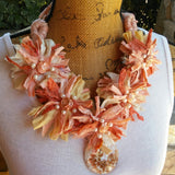 Peach Sari Statement Necklace, Silk Ribbon Boho Fabric Collar, Iris Apfel Wow Factor