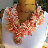 Sari Statement Necklace, Sari Ribbon Boho Bib, Statement Collar, Iris Apfel Wow Factor