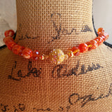 Orange Crystal & Pearl Chunky Statement Necklace, Unique Gift for Her