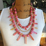 Rose Quartz Statement Necklace, Colorful Chunky Pink Collar,  Iris Apfel Wow Factor!