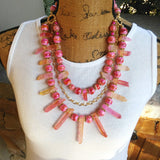 Rose Quartz Statement Necklace, Chunky, Bib, Collar, Necklace, Iris Apfel Wow Factor!