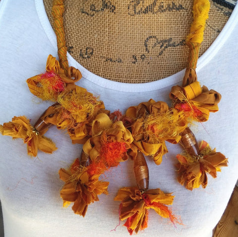 Recycled Sari Silk Ribbon Boho Statement Necklace, Gypsy Style Artisan Bib