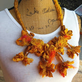 Boho, Gypsy Style, Recycled Sari Silk Ribbon, Bib, Collar, Statement Necklace