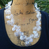 Bridal Hand Blown Clear Glass and Crystal Statement Necklace, Wedding Collar, Chanel in Bubbles!