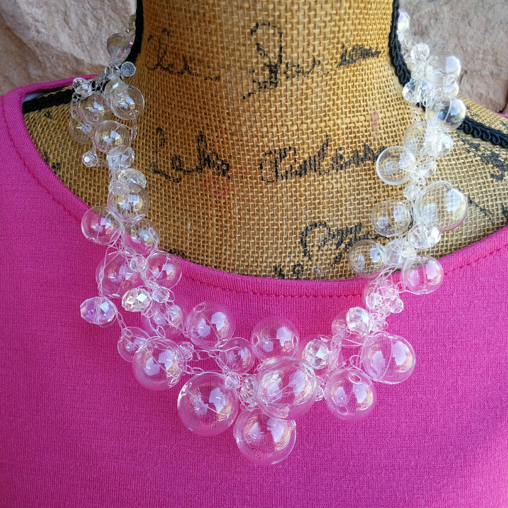 Bridal Hand Blown Glass Crocheted Statement Necklace, Wedding Necklace, Chanel in Bubbles!