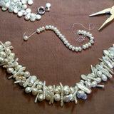 Multi-strand Freshwater Pearl Necklace, Bridal Statement Necklace, OOAK Bib, Wire Wrapped Collar
