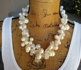 Pearl Statement Necklace, Chunky Statement Necklace, Wedding Bib, Bridal Collar, Crocheted Necklace