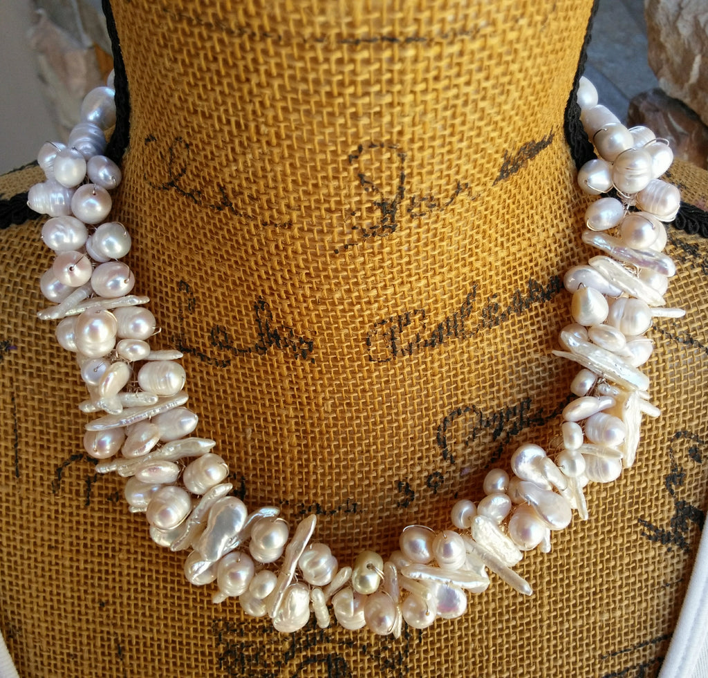 Champagne Multi-strand Freshwater Pearl Necklace, Bridal Statement Necklace, OOAK Bib