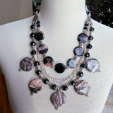 Jasper Statement Necklace, Healing Boho Multi-Strand Necklace, Artisan Jewelry, Stone Gemstone Bib, Unique Gypsy Style Bib, Gift for Her
