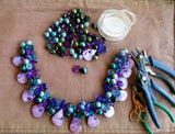Ultra Violet Super Chunky Statement Necklace, Mother of the Bride Bib, Gift for Her