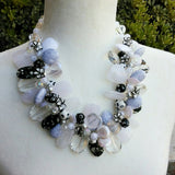 White and Black Statement Necklace, Chunky Necklace, Unique OOAK Statement Collar