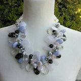 White & Black Chunky Statement Necklace, Unique OOAK Statement Collar, Great Gift for Her
