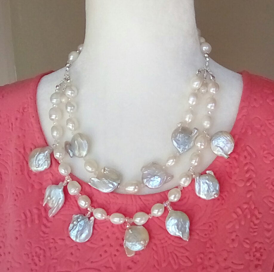 Freshwater Keshi Pearl Bridal Statement Necklace, Multi-Strand MOP Wedding Necklace