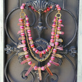 Rose Healing Quartz Statement Necklace, Chunky, Bib, Collar, Necklace, Iris Apfel Wow Factor!
