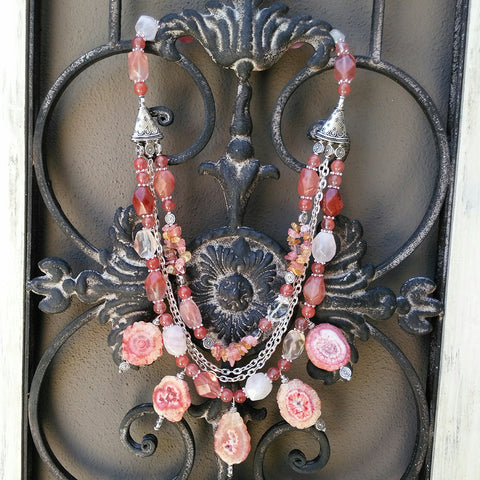 Boho Rose Healing Quartz Statement Necklace, Multi-Strand Gypsy Style Collar