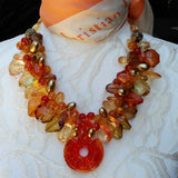 Unique Fall Chunky Statement Necklace, Colorful Murano Glass Pendant Collar, Festive  Gift for Her