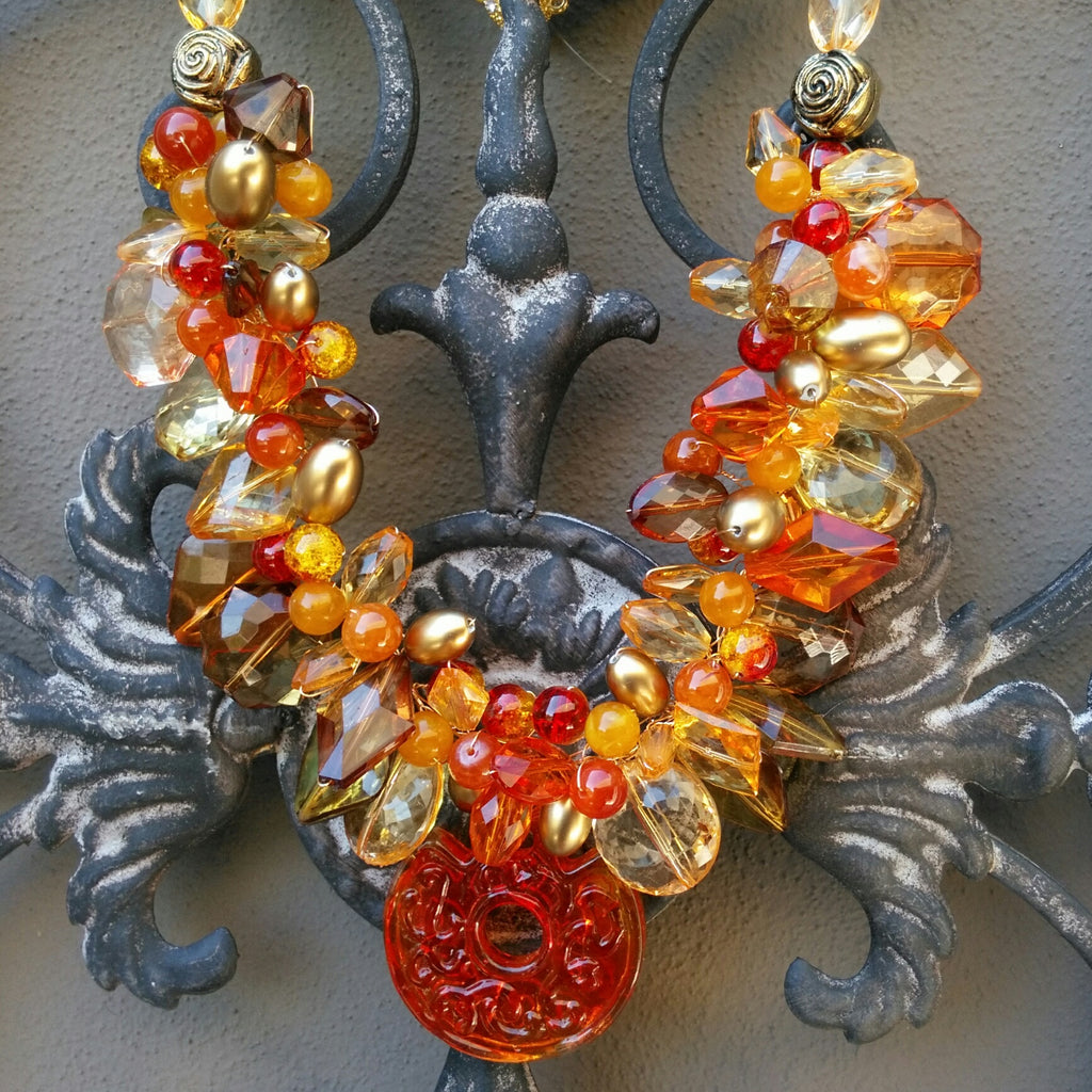 Unique Statement Necklace, Fall Chunky Statement Collar, Colorful Bib, Murano Glass Pendant Collar, Designer Inspired, Festive  Gift for Her