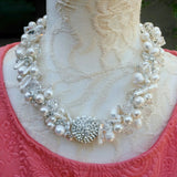 Unique Vintage Freshwater Pearl Wedding Statement Necklace, Couture Gift for Her