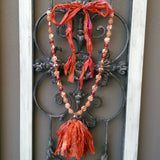 Burnt Orange Boho Tassel Statement Necklace, Healing Gem Sari Silk Tassel Necklace, Gift for Her