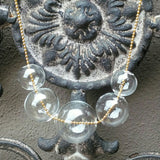 Hand Blown Glass Bubble Necklace, Glass 18K Gold Jewelry, Modern Necklace