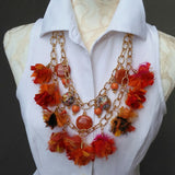 Boho Tassel Multi-Strand Statement Necklace, Orange Sari Silk Ribbon Collar, Gypsy Style Sautoir