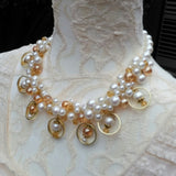 Unique Pearl Bridal Statement Necklace, Chunky Wedding Necklace, OOAK Fancy Gift for Her