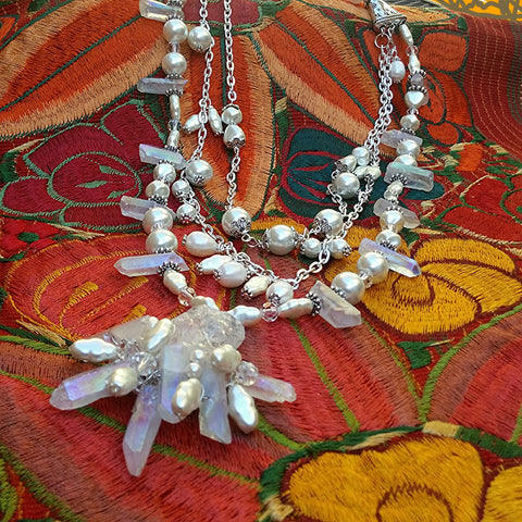 Unique Pearl & Quartz Multi-Strand Artisan Statement Necklace, Gift for Her