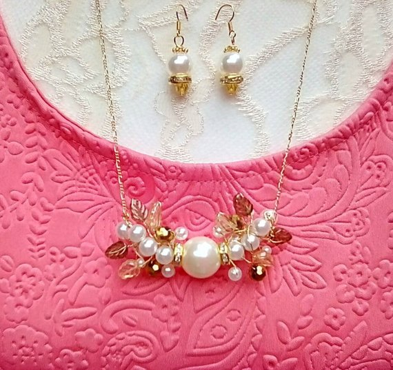 Modern Twisted Wire Pearl Statement Necklace Set - Unique Crystal Gift for Her
