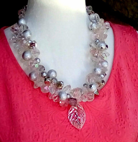 Pearl & Crystal Chunky Bridal Statement Necklace,  Silver Wedding Jewelry, Party Necklace