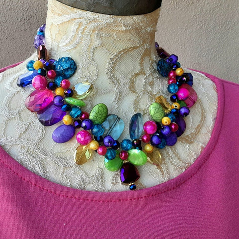 Colorful Super Chunky Statement Necklace - Mother of the Bride Cluster Bib - Unique Gift for Her