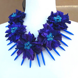 Purple Sari Ribbon Boho Statement Collar, Gypsy Style, Recycled Sari Silk Ribbon, Gift for Her
