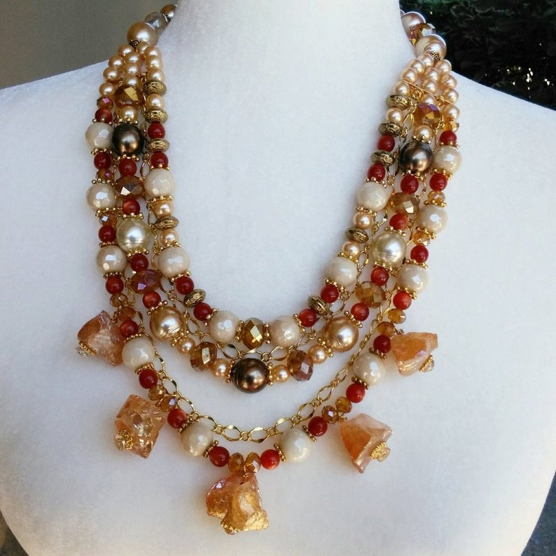 Bronze Quartz and Pearl Statement Necklace, Chunky Colorful Stone Collar, Gift for Her