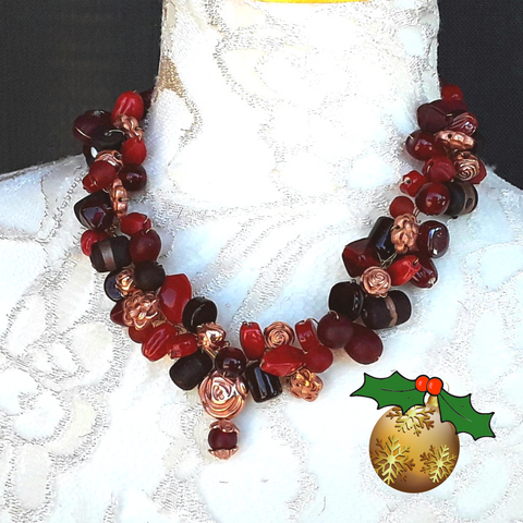 Red Designer Inspired Unique Holiday Statement Cluster Necklace - Chunky Gift for Her