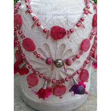 Rose Solar Quartz Multi Strand Statement Necklace, Sari Silk Tassel Bib. Boho Statement Necklace