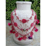 Rose Solar Quartz Multi Strand Statement Necklace, Sari Silk Tassel Bib, Chunky Masha Archer Inspired Collar