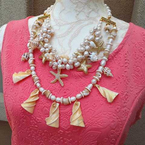 Chunky Pearl and Shell Multi-Strand Statement Necklace, Unique Summer Collar, Special Gift for Her