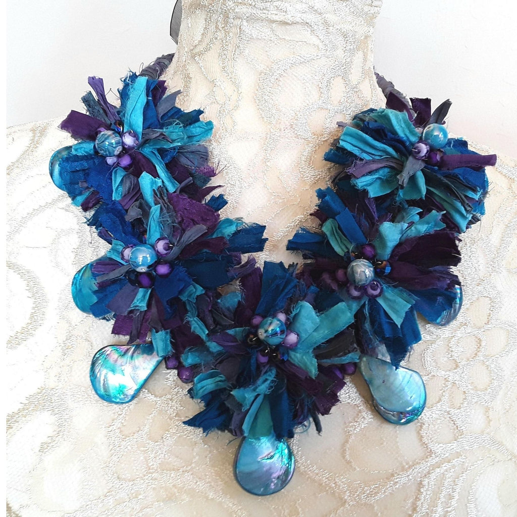 Abalone Shell and Sari Silk Flower Statement Necklace - Unique Gypsy Style Gift for Her