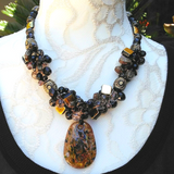 Murano Glass Pendant Vintage Statement Necklace, Little Black Dress Necklace