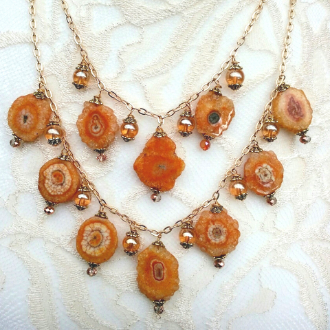 Citrine & Solar Quartz Multi Strand Statement Necklace, Healing Quartz Statement Collar