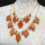 Citrine & Solar Quartz Multi Strand Statement Necklace, Unique Gemstone Gift for Her