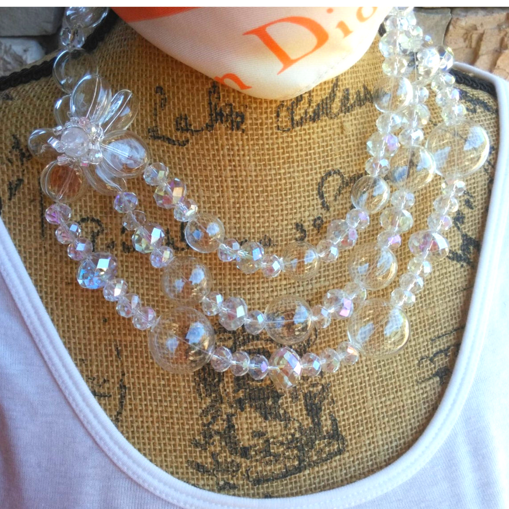 Hand Blown Glass Beads Multi-Strand Statement Necklace, Chanel in Bubbles!!