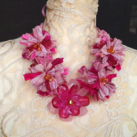 Pink Sari Statement Necklace, Silk Ribbon Boho Fabric Collar, Iris Apfel Wow Factor