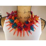 Boho Chic Sari Ribbon Flower Statement Necklace, Gypsy Style Gift for Her