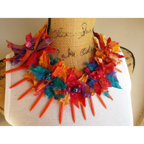 Gypsy Style, Boho Chic Recycled Sari Silk Ribbon, Bib, Collar, Statement Collar Necklace