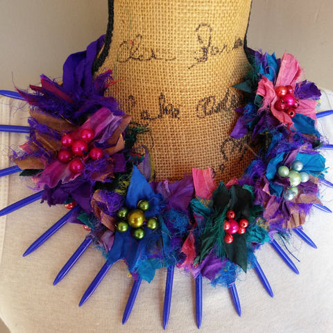 Boho Chic, Gypsy Style, Recycled Sari Silk Ribbon, Bib, Collar, Deep Purple Statement Collar Necklace