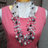 Black and White Pearl Statement Choker or Necklace, Multi-strand Crocheted Sautoir
