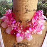 Pink Statement Necklace, Bold Chunky Necklace,Statement Collar, Bib Necklace, Gift for Her